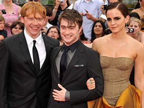 "Rupert Grint, Daniel Radcliffe and Emma Watson attend the New York City premiere of ""Harry Potter and the Deathly Hallows - Part 2"""