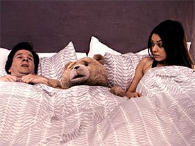 "Mark Wahlberg, Ted as voiced by Seth McFarlane and Mila Kunis in ""Ted"""
