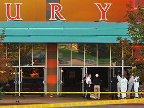 Police outside Century 16 movie theater in Aurora, Colorado