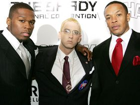 50 Cent, Eminem and Dr. Dre in 2004