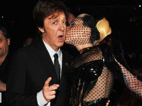 Musicians Sir Paul McCartney and Lady Gaga attend The 54th Annual GRAMMY Awards at Staples Center on February 12, 2012 in Los Angeles, California.
