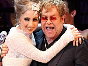 Lady Gaga and Elton John celebrate the Rainforest Fund's 21st birthday at Carnegie Hall in New York City on May 13, 2010