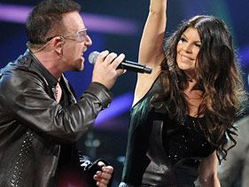 U2's Bono and Black Eyed Peas' Fergie perform onstage at the 25th Anniversary Rock and Roll Hall of Fame Concert at Madison Square Garden on October 30, 2009 in New York City
