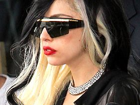 Lady Gaga arrives at the Bourget Airport in France for the Cannes Film Festival on May 10, 2011