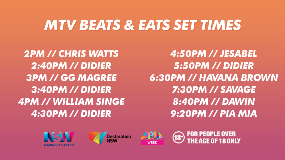 Beats and Eats Time List