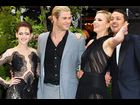 Kristen Stewart, Chris Hemsworth, Charlize Theron and director Rupert Sanders