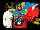 Justin Bieber and Cee Lo backstage during the Grammy Awards