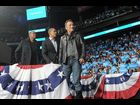 Jay-Z and Bruce Springsteen join president Barack Obama on stage to greet supporters during a campaign rally in Columbus, Ohio