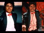 "(left) a scene from the music video for ""Billie Jean,"" (right) a scene from Michael Jackson's <i>Michael</i> cover"