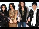 Kourtney, Kim and Khloe Kardashian with their mom Kris Jenner at the Glam Pack Of Silly Bandz Launch Party in February 2011