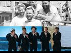 "Sailors in the 1950's and One Direction as sailors in their video for ""Kiss You"""