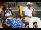 "Lil Wayne and Birdman during a special Miami episode of ""RapFix Live"""
