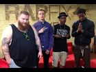 "XXL Freshmen Action Bronson, Dizzy Wright, Logic and Travis Scott pose after ""RapFix Live"""